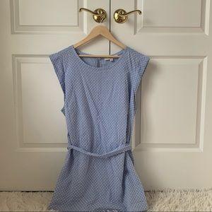 NEW LOFT plus blue white dot tank blouse front tie